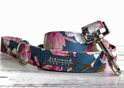 Cedarwood and Ash Vibrant Pink Blossom on Blue Handmade Dog Collar and Leash set. (Listing for a collar and leash SET, the Dog Collar ONLY is available in a separate listing)