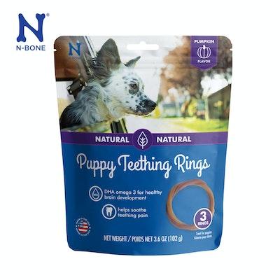 N-Bone Natural Puppy Teething Ring Pumpkin Flavor 3pks - PUMPKIN Flavor