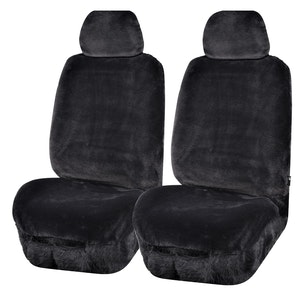 Universal Finesse Faux Fur Front Seat Covers Size 30/35 | Charcoal
