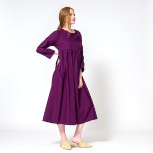 Cotton Plaid High Waisted Shift Dress