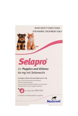 SELAPRO Spot On Treatment <2.5kg Kitten & Puppy 6 Pack