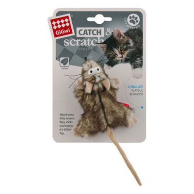 GIGWI Catch & Scratch Mouse with Catnip Cat Toy