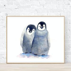 Loving Penguins - Archival Print A4