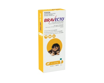 BRAVECTO Spot On for Dogs 2-4.5kg 1 Pack Yellow