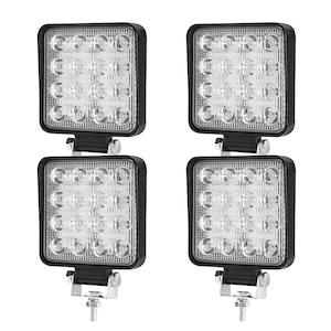 LIGHTFOX LIGHTFOX 4x 4inch LED Work Light Square Flood Lamp OffRoad 4x4 Reverse