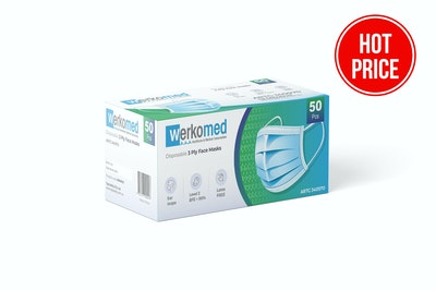 Werkomed 3Ply - Surgical - Face Mask - Latex Free (50 Pack)