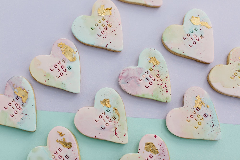 Love is Love Wedding Bride and Stork Cookies