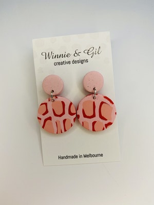 Winnie and Gil Pink and red leopard dangle.