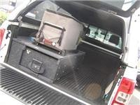 Slide-out fridge and storage. Alans Ranger set-up.