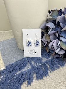 Floral Print Trapezoid shaped drop earrings on Sterling Silver Wires