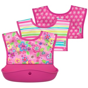 green sprouts Snap & Go™ Silicone Food-catcher Bib 6-18 mo - Pink Flower Field