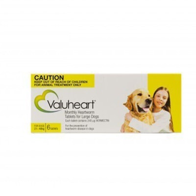 Value Plus Valuheart for Large Dogs 21-40kg Heartworm Tablet Gold 6 Pack