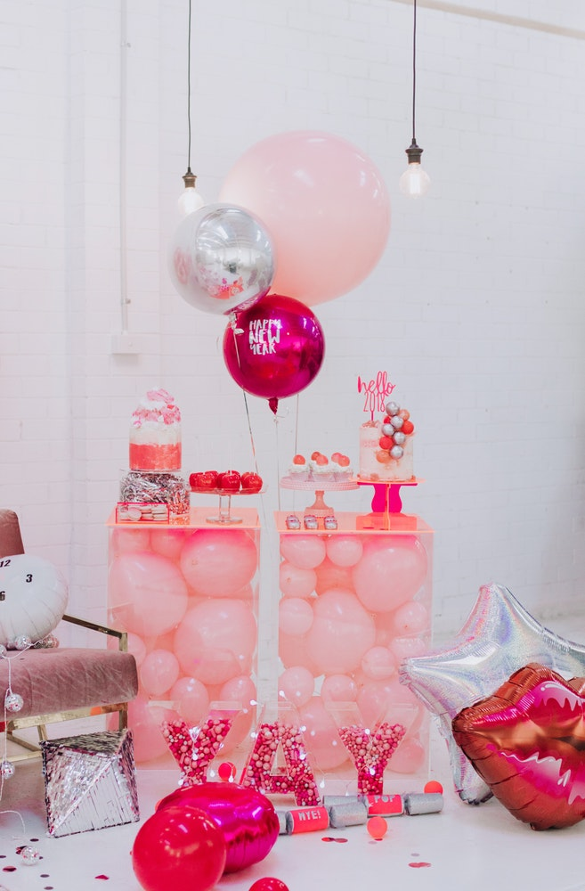 Pink Silver Party Cake Table