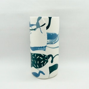 Painterly Vessel, Forest / Blues, Tall