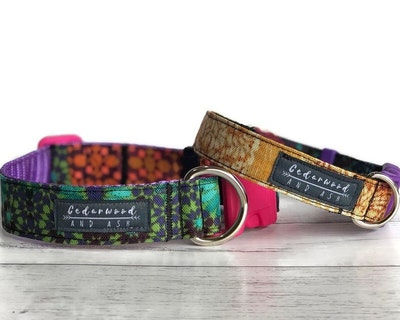 Cedarwood and Ash Handmade Colourfully Unique Fabric Dog Collar (This listing is for the Collar only, a Collar and Leash SET is available in separate listing.)