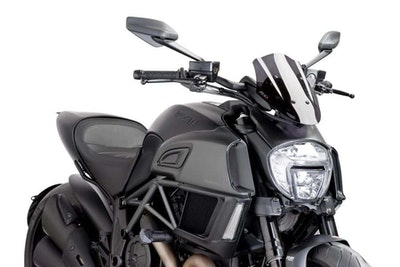 Puig Naked New Generation Adjustable Screen To Suit Ducati Diavel 2014 - 2018 (Dark Smoke)
