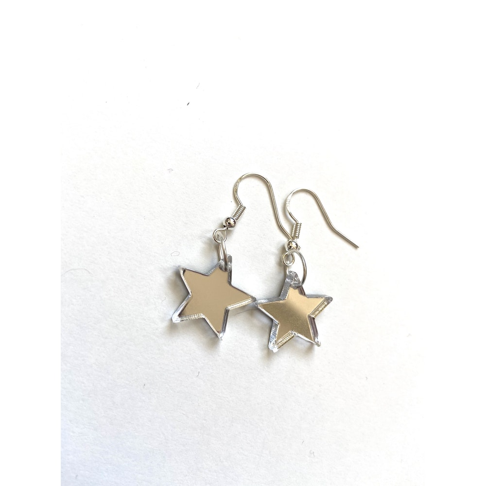 One of a Kind Club Mirrored Solid Star Acrylic Earrings