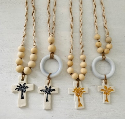 DIYGIRL.SHEDSHOP Garlands coastal Inspired Clay Crosses Handcrafted painted and braided