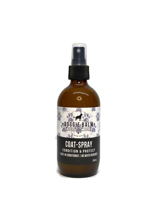 The Doggie Balm Co DoggieBalm COAT Leave-In Spray Conditioner. Formulated to moisturize and promote healthy, nourished dog coats