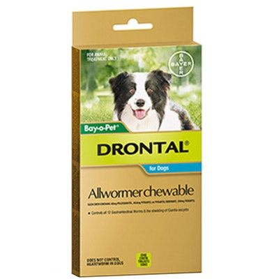 Drontal Chewable Allwormer for Dogs Medium 3-10kg - 3 Sizes