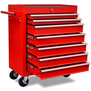7-Drawer Workshop Tool Trolley - Red
