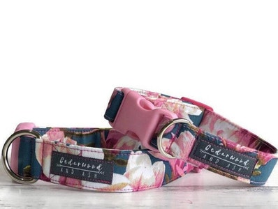 Cedarwood and Ash Vibrant Pink Blossom on Blue Handmade Dog Collar. (This listing is for the Collar only, a Collar and Leash SET is available in separate listing.)