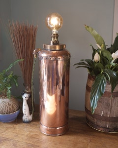 Industrial Brass & Copper Fire Extinguisher Lamp