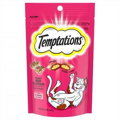 TEMPTATIONS Hearty Beef Cat Treats 85G