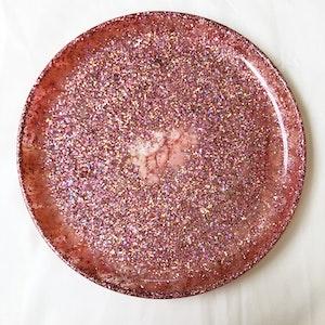 Handmade Resin Plate - Pink Glitter