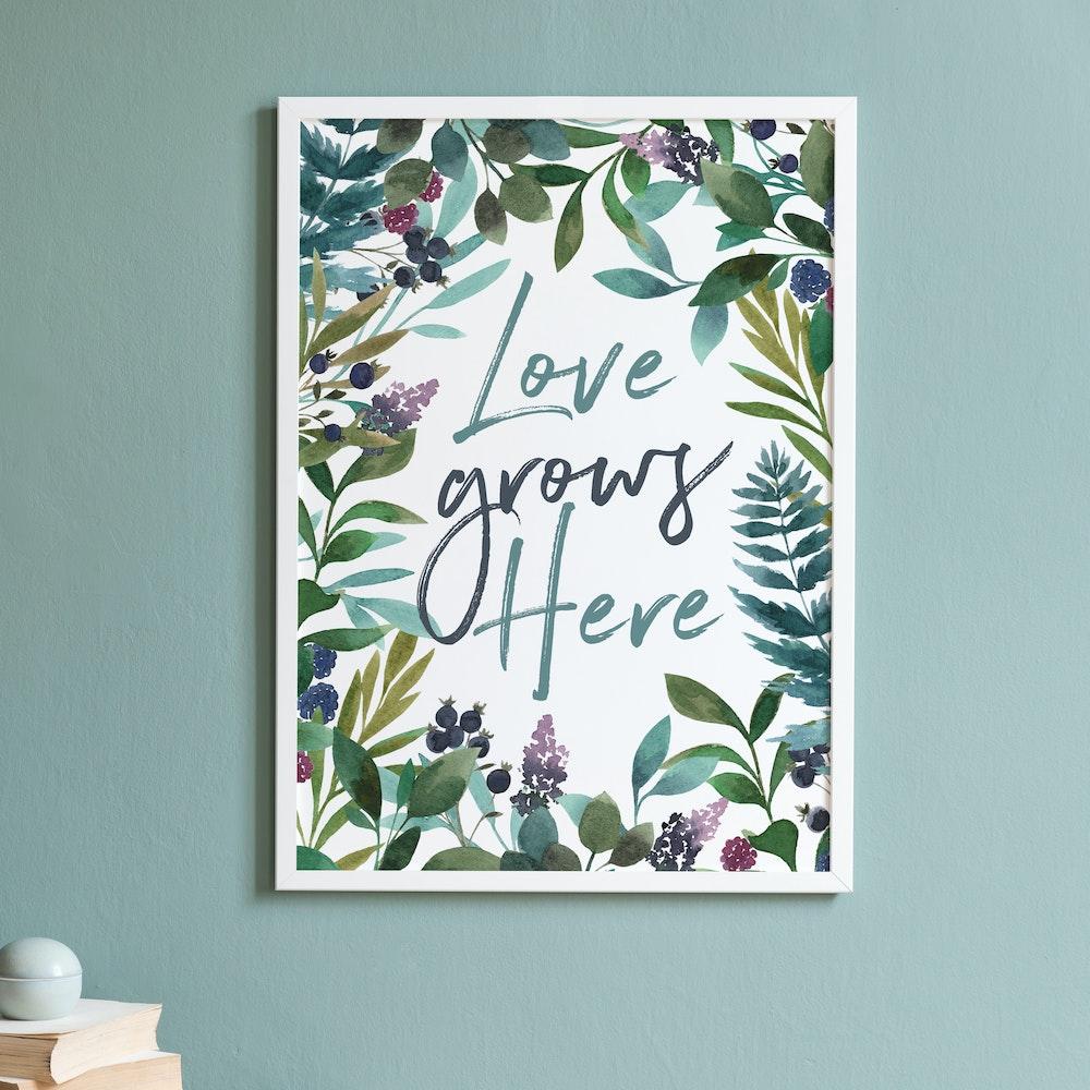 Laura Elizabeth Illustrations Love Grows Here Fine Art Print