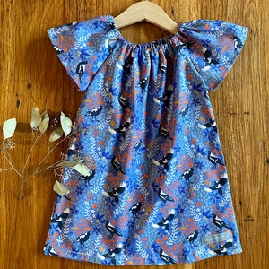 dress - blue magpies / organic cotton peasant-style dress navy coral / eco friendly / girl toddler / size 1 2-3 4 5 years