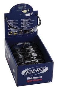 BBB Element Sportsglasses Disp. Box 12 Black Pc Clear L