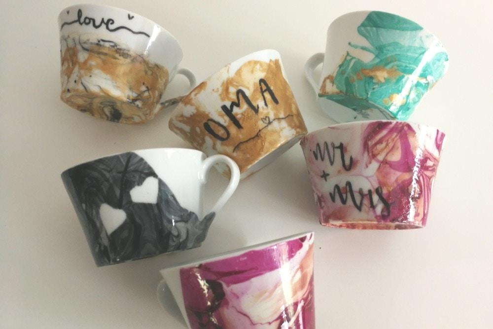 DIY Watercolor-Tassen als Gastgeschenk oder Hochzeitsgeschenk