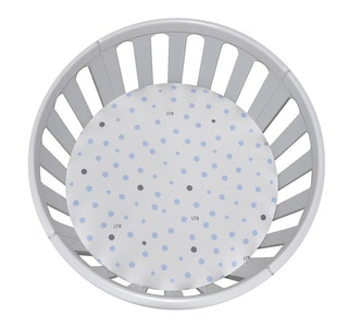 CIRCLE Bassinet Fitted Sheet Woven Cotton: PALE BLUE & GREY SPOTS