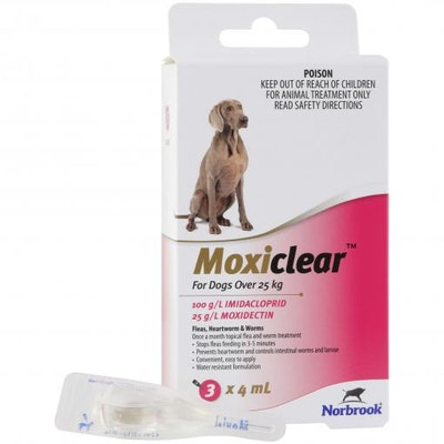 MOXICLEAR Flea & Worming Spot Treatment >25kg Dog 3 Pack