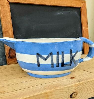 Scenic Rim Pottery Blue and white striped milk jug or pitcher