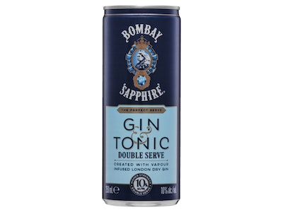 Bombay Sapphire Gin and Tonic Double Serve 10% Can 250mL Case