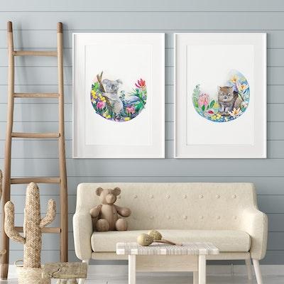 Watercolour by Cat Set of 2 A3 Australian animals fine art prints