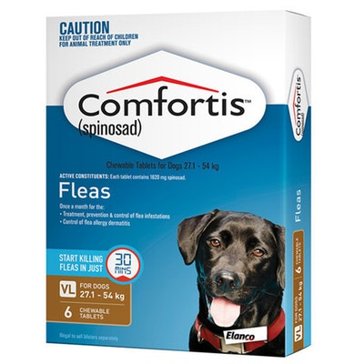 Comfortis Fleas Treatment Prevention 1620mg for Dogs 27-54kg Brown - 2 Sizes
