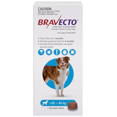 BRAVECTO Dog 3 Month Chew Tick & Flea Treatment for 20-40kg Large Blue
