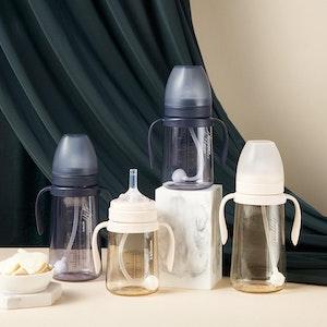 Mother-K Basic PPSU Weighted Straw Bottle 300mL (Navy/Cream)