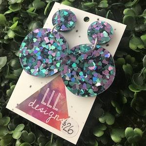 Super Glitzy Love Heart Confetti Dangle Earrings.