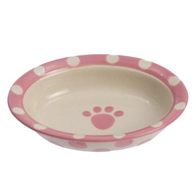 Petrageous Polka Ceramic Cat Pet Bowl Oval Pink 15cm
