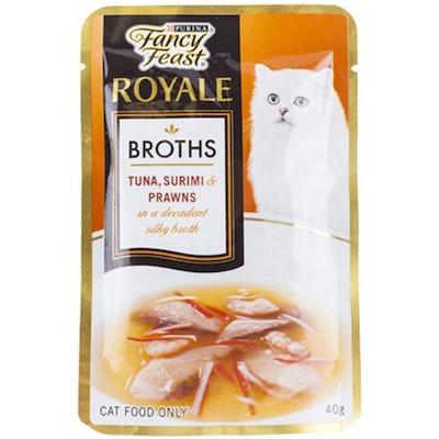 Fancy Feast Cat Food Tuna Surimi & Prawn Broth - 2 Sizes