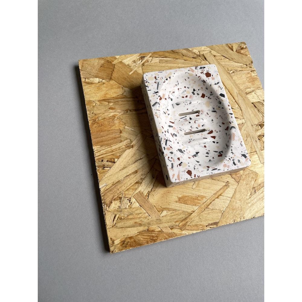 Smudge Creations Neutral Terrazzo Rectangle Soap Dish