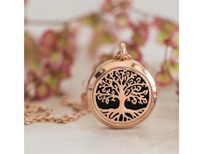 Love Thy Oils Rose Gold Tree of Life - Essential oil diffusing necklace