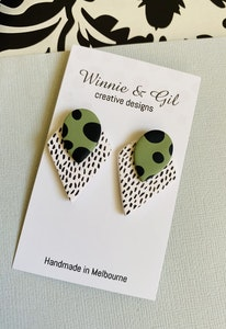 Winnie and Gil Green Freckle Triangle studs