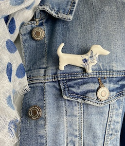 Blue and White Floral Print Dachshund Brooch