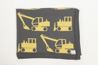 Leroy Mac Designs 100% PURE Australian Merino Grey/Yellow Excavator Blanket/Throw