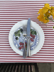 Red Ticking 2.5m Tablecloth